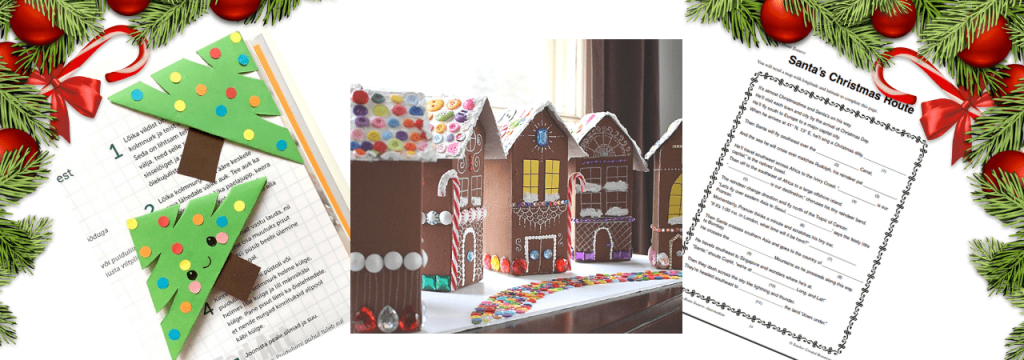 image of gingerbread house and christmas worksheets